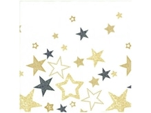 Servietten Ihr Vlies Dinner Sparkling Stars black gold 40x40