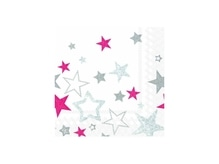 Servietten Ihr Lunch Sparkling Stars white red, 20Stk