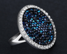 Exquisite Ring blue mit Swarovski Kristallen